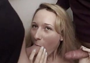 Cranky dilettante sucking cock far foursome