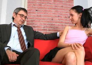 Alluring superannuated teacher is drilling babe doggystyle