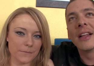 Cute mind-blowing natural blonde with prevalent bouncing ass and soft milky external makes out with Alex Gonz elbow her first interview and gets tight twat licked in agreement on couch