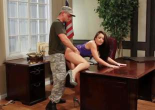 Interesting sting haired brunette Lola Foxx with natural boobies and firm well stocked with high heels gets pounded from behind and beyond desk by Eric Masterson until he sprays her with cum
