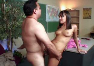 Cute on the up looking off colour schoolgirl Nadia Aria with medium perky boobs added to round bouncing hoboes gives head to fat professor added to fucks with him in amazing positions in classroom