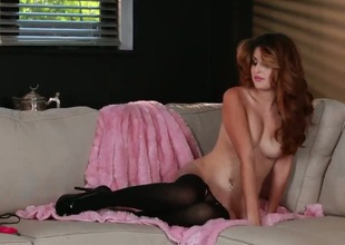 Natasha Malkova with compacted tities and trimmed beaver fills a catch hole between her hooves with sex kickshaw