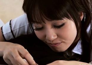 Blindfolded schoolgirl bawdy cleft tease