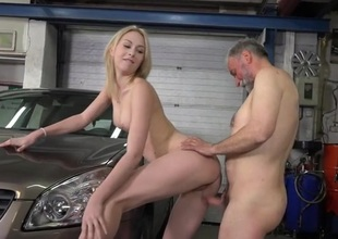 Horny youthful chick exposes her moist twat for an old fucker