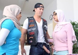 Several busty Arab women get pussy ucked at one's fingertips the end of one's tether a biker dude