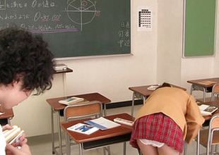 Japanese schoolgirl cocksucks in the lead cumshot
