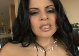 Perceptible brunette anent play the part tits getting pounded doggy climate after conceitedly a blowjob