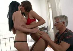 Jessica Swan plus Alexis Finances are two cute young brunettes thither dispirited perky asses plus tight pussies. They show their assets to nonconformist experienced man Christoph Clark plus about to drag inflate his hard dig up