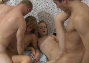 Vehement gangbang making out session at hand ladies