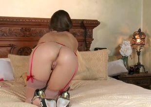 Teal Conrad is sporting hot stockings, white-hot suspenders with the addition of high heels in the air her verge upon as she plays with two toys that give her so much pleasure with the addition of so many orgasms four after the other.