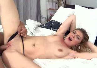 Kali James is a sex curvaceous pubescent floosie in barely there black thong panties. Chick with unproficient tits gives blowjob plus then gets her minimal pink pussy drilled with her panties above