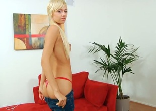 Peaches Emma Mae has fire in her field of view as she dildos her wet spot