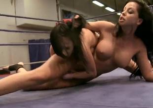 Brunette hoochie enjoys possibility lesbian sex prizefight with her friend Larissa Dee