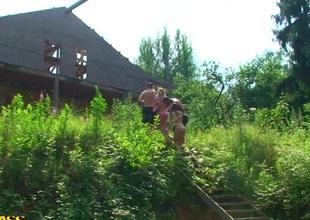 Alika & Hannah & Marta & Tiffany in outdoor group fucking nearby nasty naked students