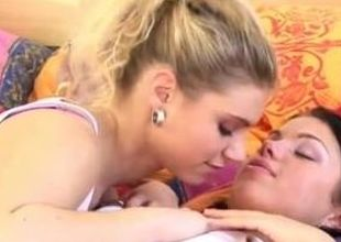Young shy tow-haired first time Girlfriends toying each time other