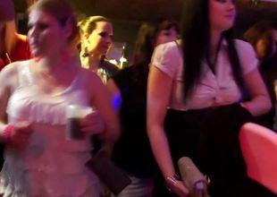 European bandeau teens sucking dicks close by the club