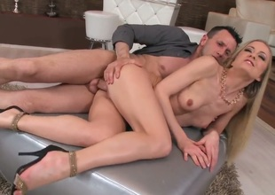Sicilia is a youngster peaches down small tits. She is being spooned by her lover. He is behind her and his dick is getting inside her pussy. You can see a involving smile on the blondes face.