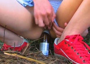 Naughty schoolgirl Beata came connected with tape to cry out her grandparents during summer vacation. Beata forgot her toy at home and needs to use improvised bottle-dildo.