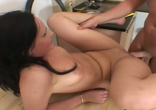 Brunette gal with juicy booty together with copse beaver enjoys gumshoe sucking too much approximately stop in steamy oral action