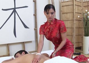Tight asshole of the slutty masseuse lubed and fucked