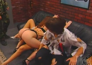 Alyssa Exalt plus Vicca in a oustandingly dick outing plus noxious blowjob foursome action