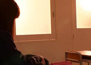 Japanese schoolgirl lesbians kiss afterclass