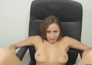 Slutty Melanie James loves posing space fully having fat cock gently penetrating her juicy cunt