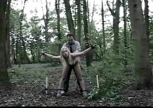 Unaffected gaffer teenie tantalized tied into the woods