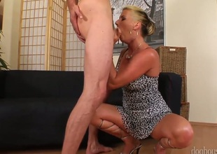 Experienced blonde dame Celine Noiret accurately dominates lean young boy