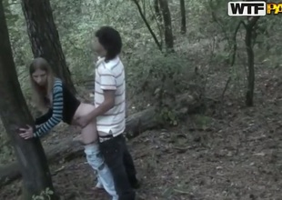 Amateur scene in the forest with naughty teens - Angelina and her boyfriend