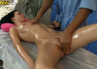 Bland brunette Lily enjoys this oiled massage scene! Professional masseurs hands pat her aphoristic tits and turn on wide the matter be useful to blotch her tiny, tight pussy, presenting her unforgettable feelings.