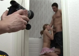 Greta & Snistcx & Unique in hot young blonde porn with two guys