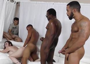 Nasty brunette Sara A fast one on fucked all over gangbang