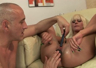 Blonde White Angel is so wet and so horny that fucks along the same lines as a sex frenzied animal