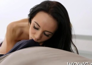 stuffing her pussy and she goes real deep with it