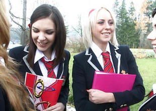 Brash schoolgirls around foursome lesbian act